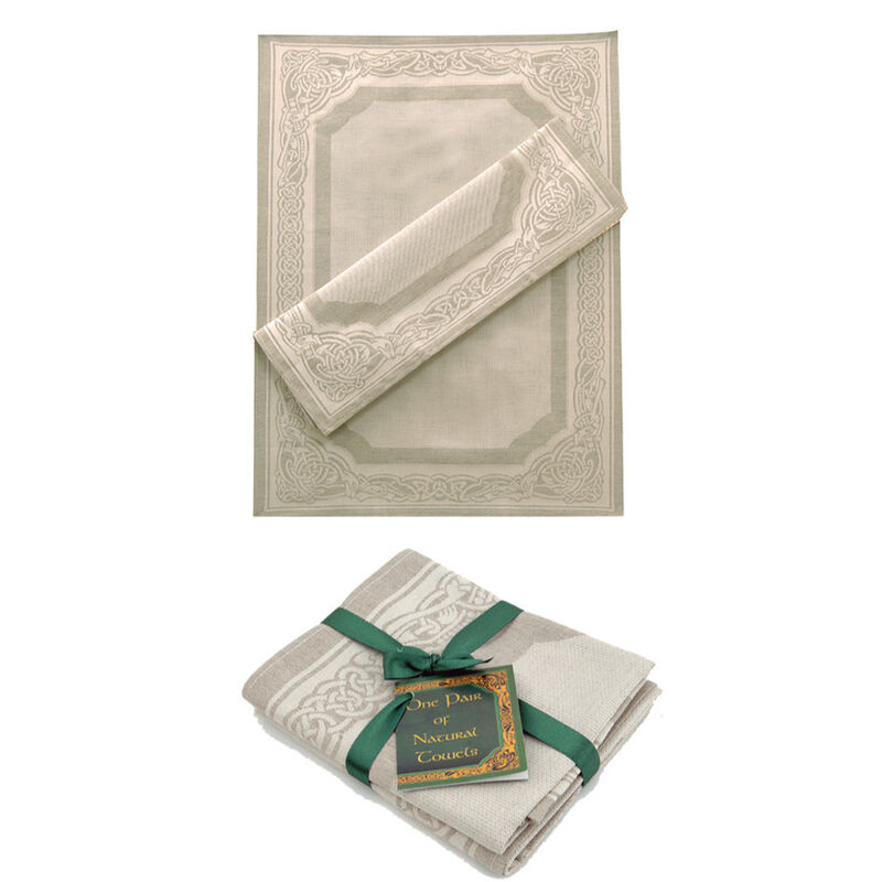 Natural Linen Glass and Mirror Cloths With Keltic Detail (2 Pack)