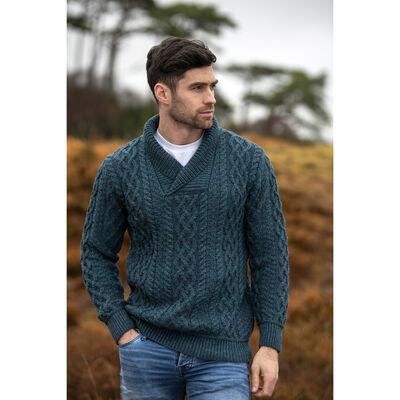 100% Merino Wool Bunratty Shawl Collar Sweater, Peacock Colour