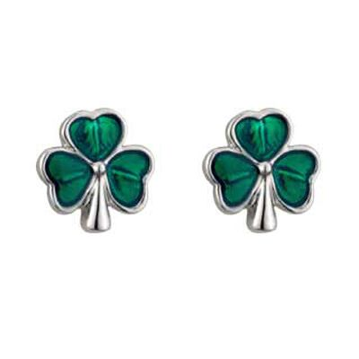 Rhodium Plated Shamrock Stud Earrings With  Green Leaves