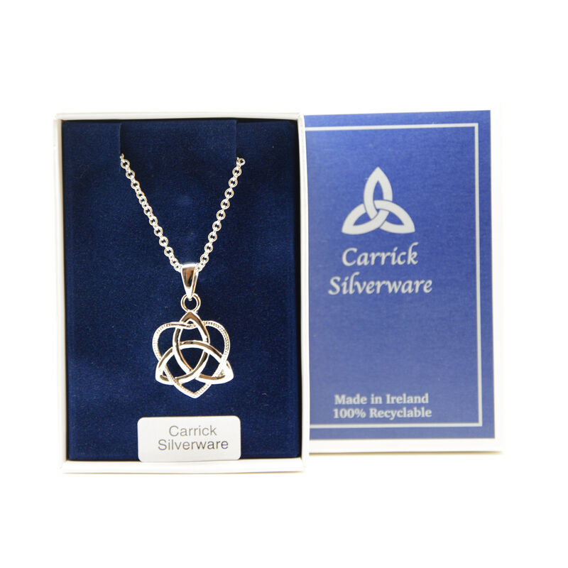 Silver Plated Carrick Silverware Trinity Knot In Heart Pendant
