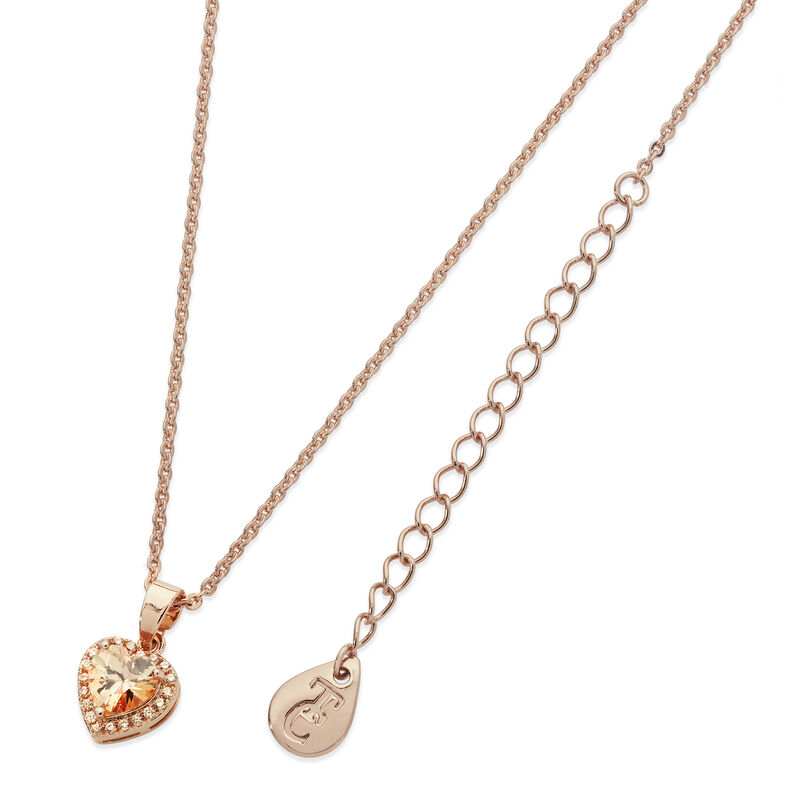 Tipperary Crystal Rose Gold Plated Diamante Heart Drop Pendant