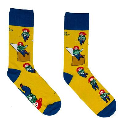 Irish Socksciety Bosco Socks - Yellow Colour With Blue Trim