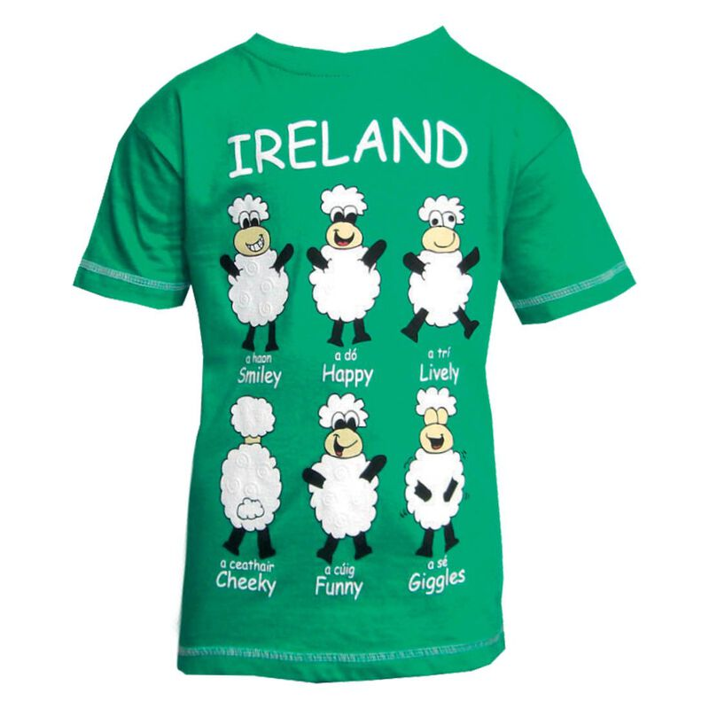 Ireland Kids T-Shirt With Green Happy Sheep Design  Green Colour