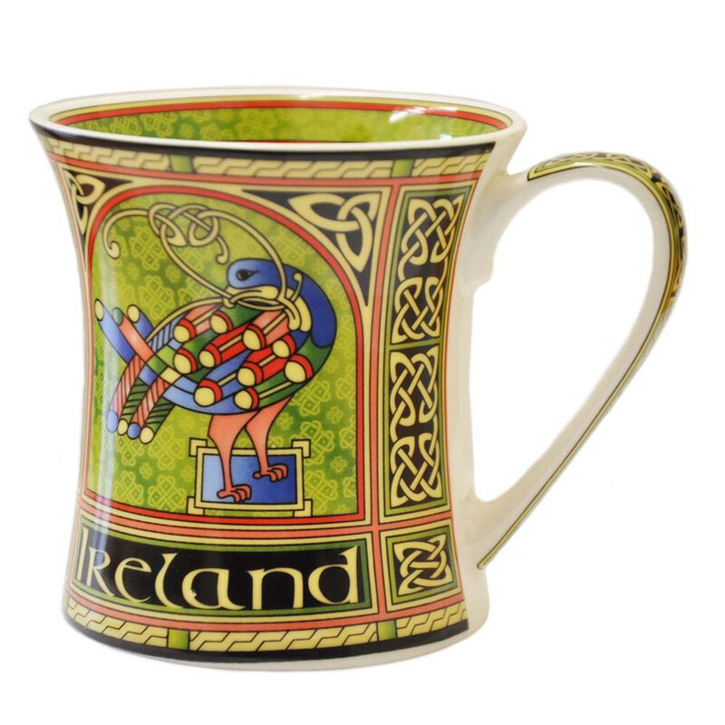 Celtic Peacock Ireland Mug With A Coloured Trinity Irish Design