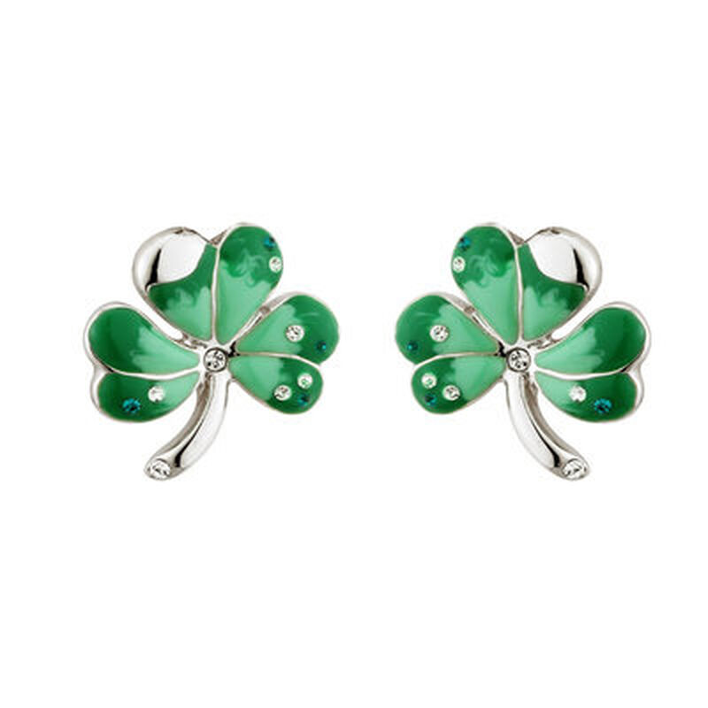 Rhodium Plated Shamrock Stud Earrings With Green Enamel Detail And Crystals