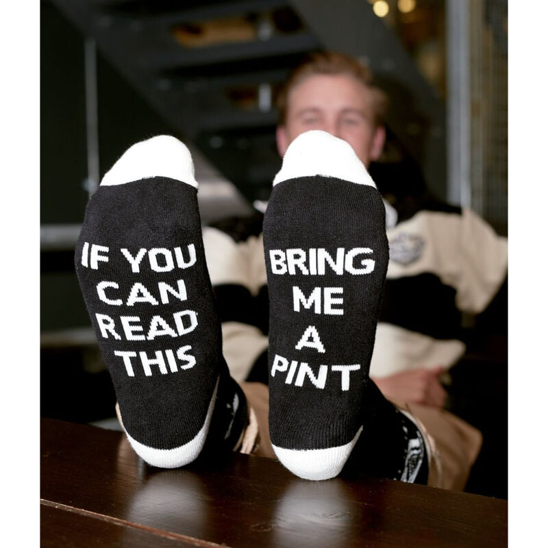 Black And White Guinness Official Merchandise Bring Me A Pint Socks