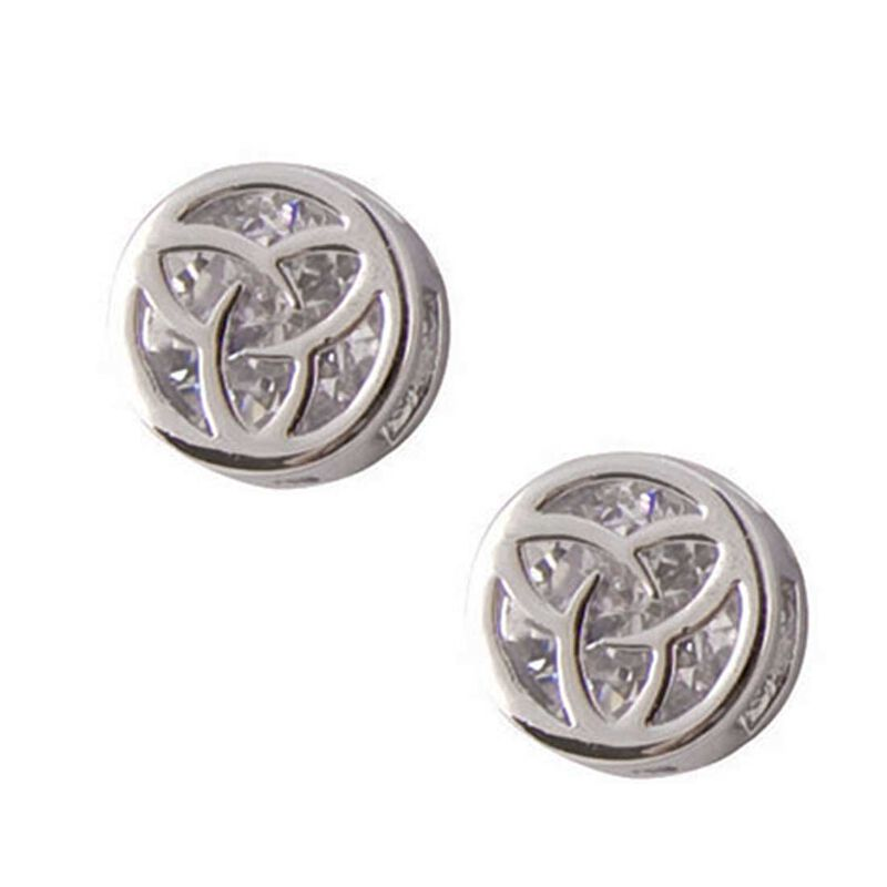 Silver Plated Round Earrings With Trinity Knot Shaped Cubic Zirconia Stone