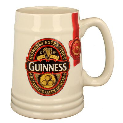 Guinness Label Cream Ceramic Tankard