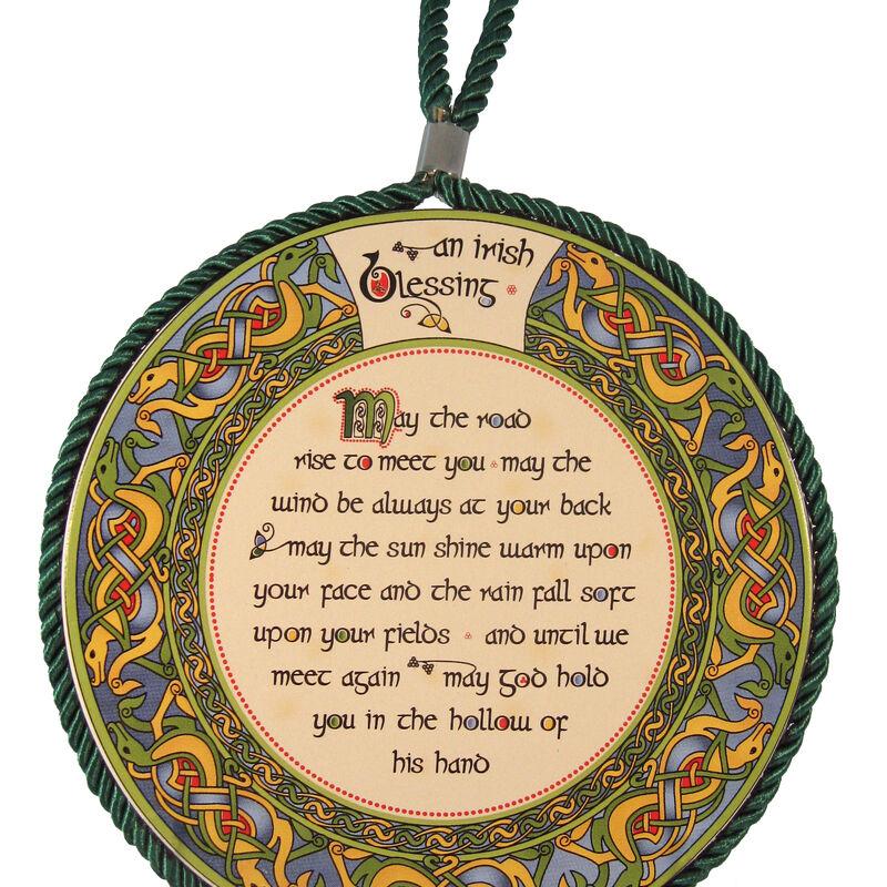 Irish Weave Ceramic Pot Stand / Hanging Decoration With Irish Blessing Design