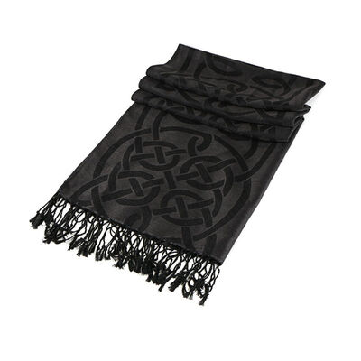 Traditional Pashmina Scarf With Celtic Knotwork Design  Black
