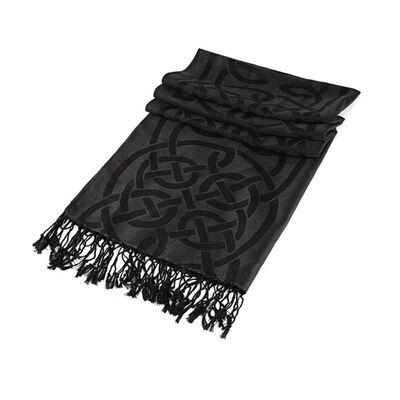 Traditional Pashmina Scarf With Celtic Knotwork Design  Black