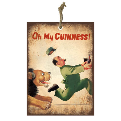 Official Guinness Mini Metal Bar Sign With Classic Zookeeper Design