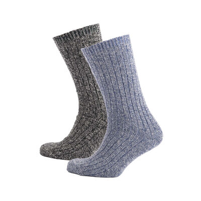Heritage Traditions Merino Mix Walking Sock 2 Pack, Grey & Marl Blue Colour