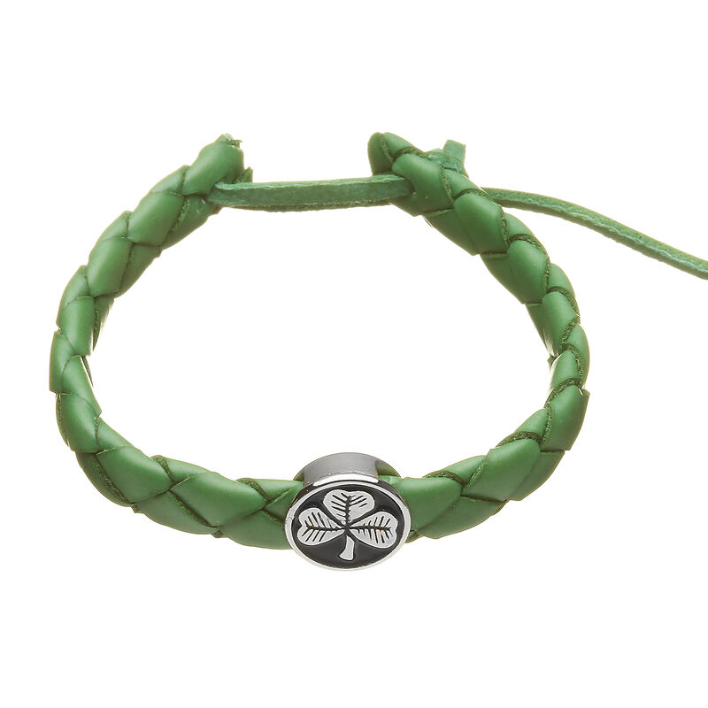 Green Leather Plaited Wristband with a Circular Black and Silver Shamrock Charm