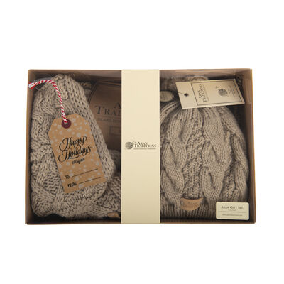 Aran Traditions Gift Set - Tammy Hat and Snood, Oatmeal Colour