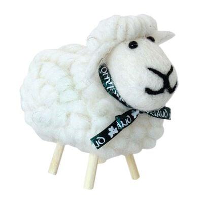 Irish Ornament With White Cotton Designed Sheep on Stick Legs