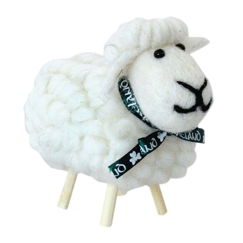 Irish Ornament With White Cotton Designed Sheep on Stick Legs