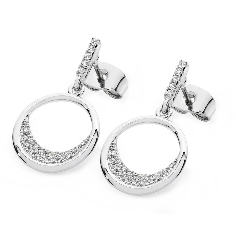 Tipperary Crystal White Floating Moon Earrings, Comes With Gift Box