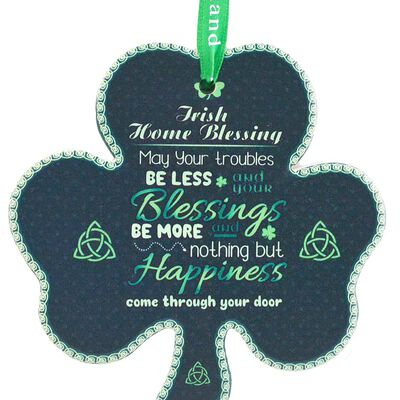 Shamrock-Shaped Ceramic Plaque With Traditional Irish Home Blessing