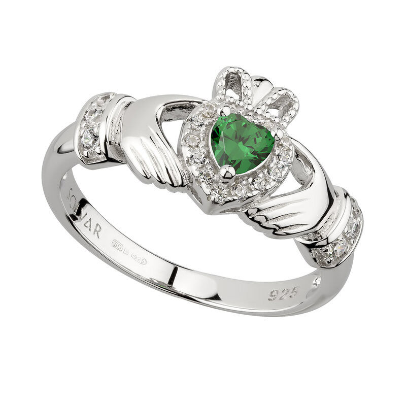 Hallmarked Sterling Silver Green Cubic Zirconia Claddagh Ring