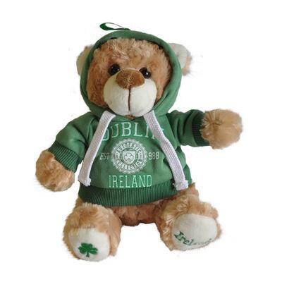 "Cremefarbener Teddybär  20cm  mit ""Dublin Ireland Est 988""-Kapuzenshirt"