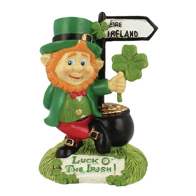McMurfy Luck O' The Irish Figurine With Pot Of Gold And Road Sign Design