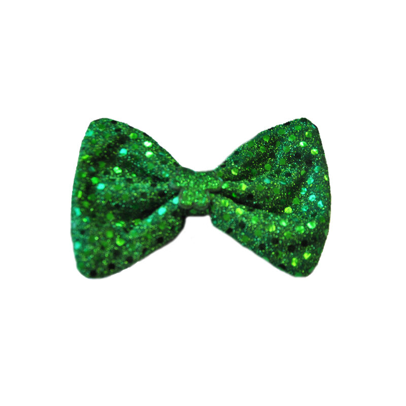 Green Sequin and Shamrock Elasticated Bow Tie