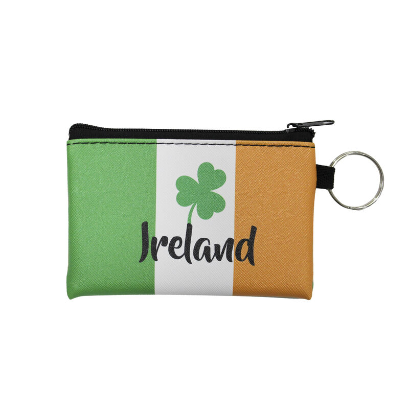 Pouch And Keychain With Ireland Shamrock And Tri-Colour Design