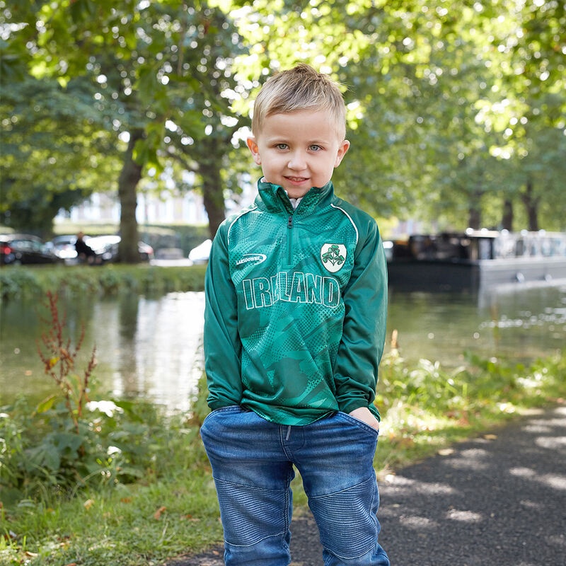 Kids Ireland Rugby Performance Top Green Colour With Shamrock Crest