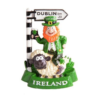 Ireland Magnet with a Leprechaun on a Sheeps Back and Dublin Road Sign
