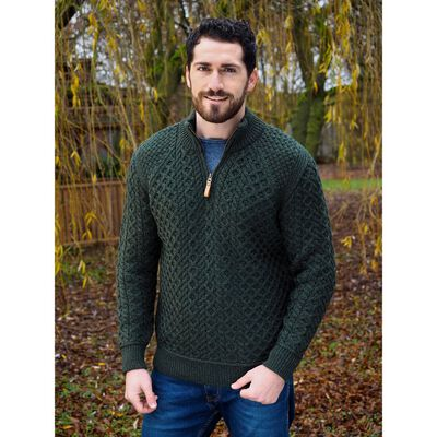 Irish Aran Knit Mens Supersoft Half Zip Sweater  Green Colour