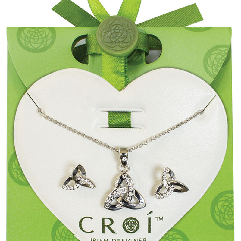 Croí Trinity Necklace and Earrings Set With Swarovski Crystal Design