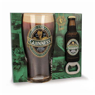 Official Guinness Gift Set With Pint Glass & Bottle Opener - Ireland Label Design