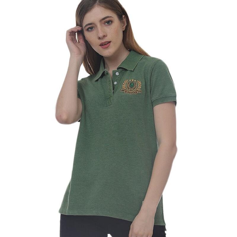 Green Ireland Polo Shirt With Ireland Shamrock Crest And Burnout Style