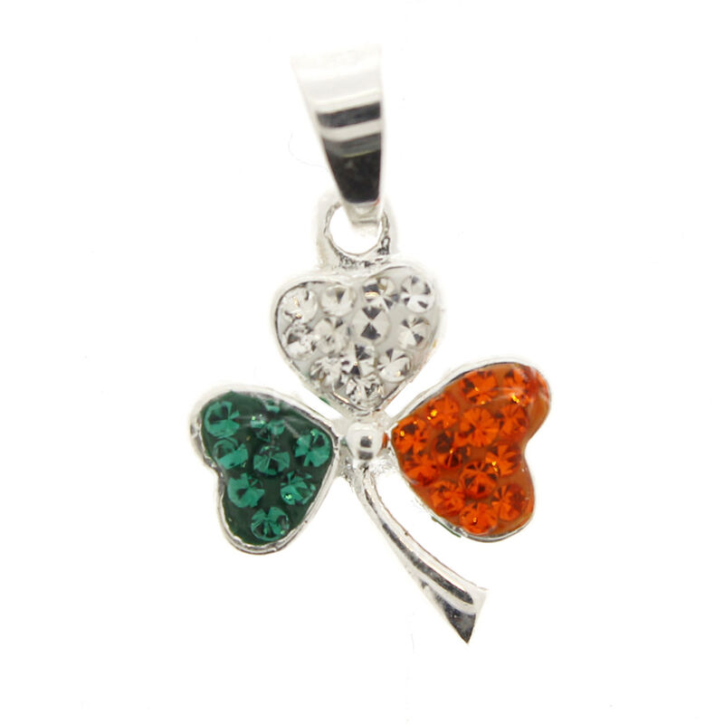 Hallmarked Sterling Silver Tri Colour Cubic Zirconia designed Shamrock Pendant