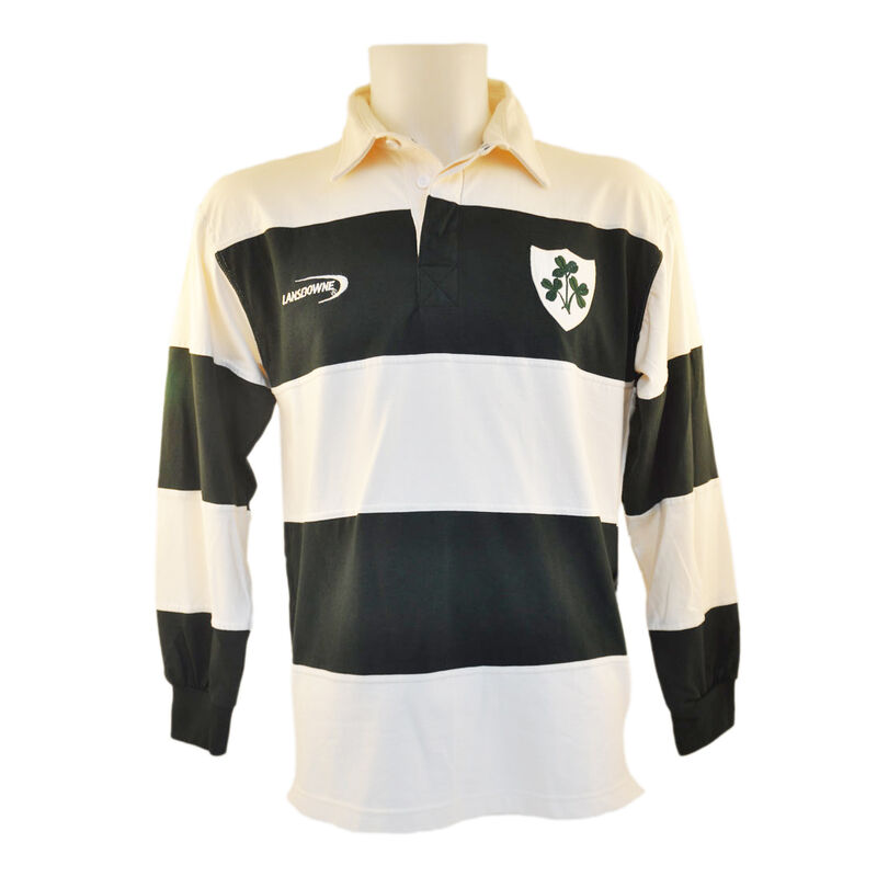 Polo Shirt With Irish Rugby Shamrock Crest  Cream And Green Stripes