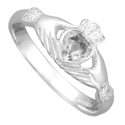 Hallmarked Sterling Silver Celtic Claddagh Ring With Clear Coloured Stone