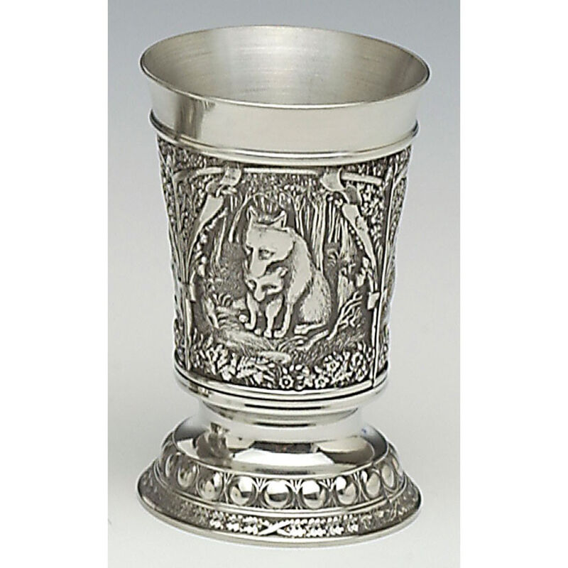 Mullingar Pewter Drinks Measure With Irish Fox Scenes