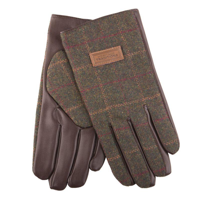 Heritage Traditions Mens Tweed Gloves  Green Herringbone Design