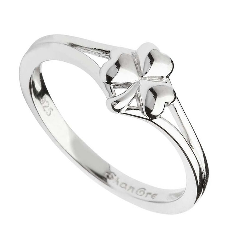 Hallmarked Sterling Silver Shamrock Ring With Split Shoulder