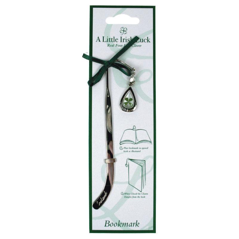 Four Leaf Clover Bookmark With Tear Drop Charm