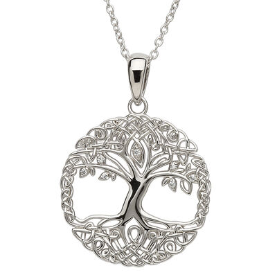 Platinum Plated Tree Of Life Pendant With Clear Swarovski Crystal