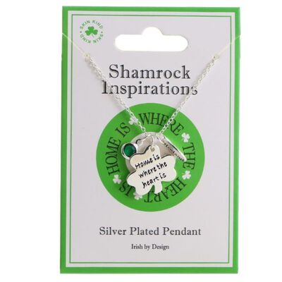 """Shamrock Inspirations """"Home Is Where The Heart Is"""" Silver Plated Pendant"""