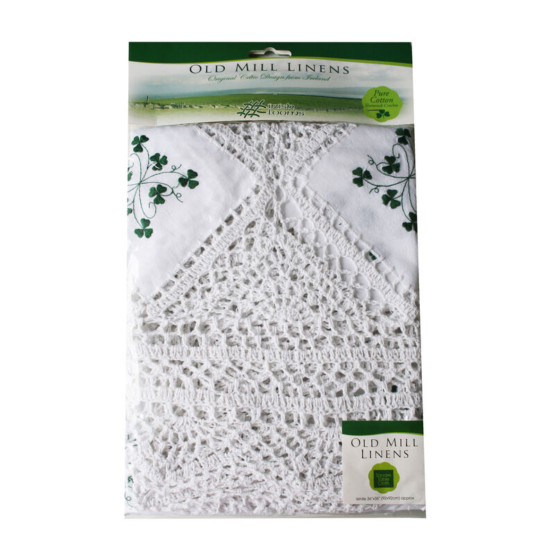Pure Cotton Shamrock And Lace Edge Crochet Tablecloth (36 x 36)
