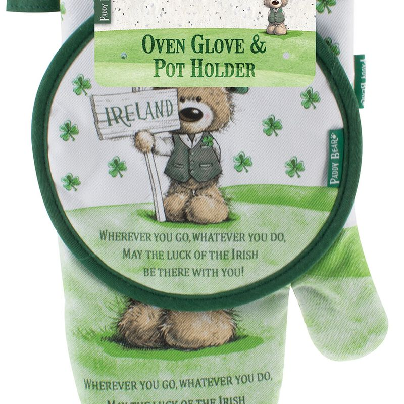 Paddy Bear Irish Designed Oven Glove and Pot Holder 'Wherever you go  whatever you do' Text