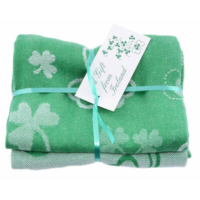Bale Of Two Green Shamrock Designed 100% Cotton T-Towels