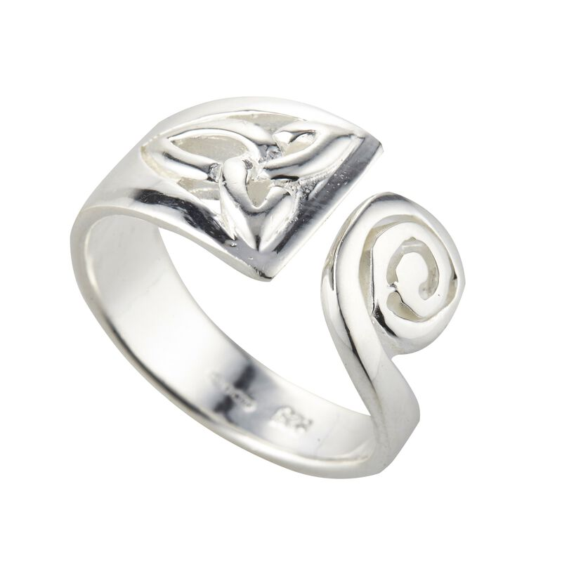 Hallmarked Sterling Silver Trinity Knot and Spiral Designed Ring
