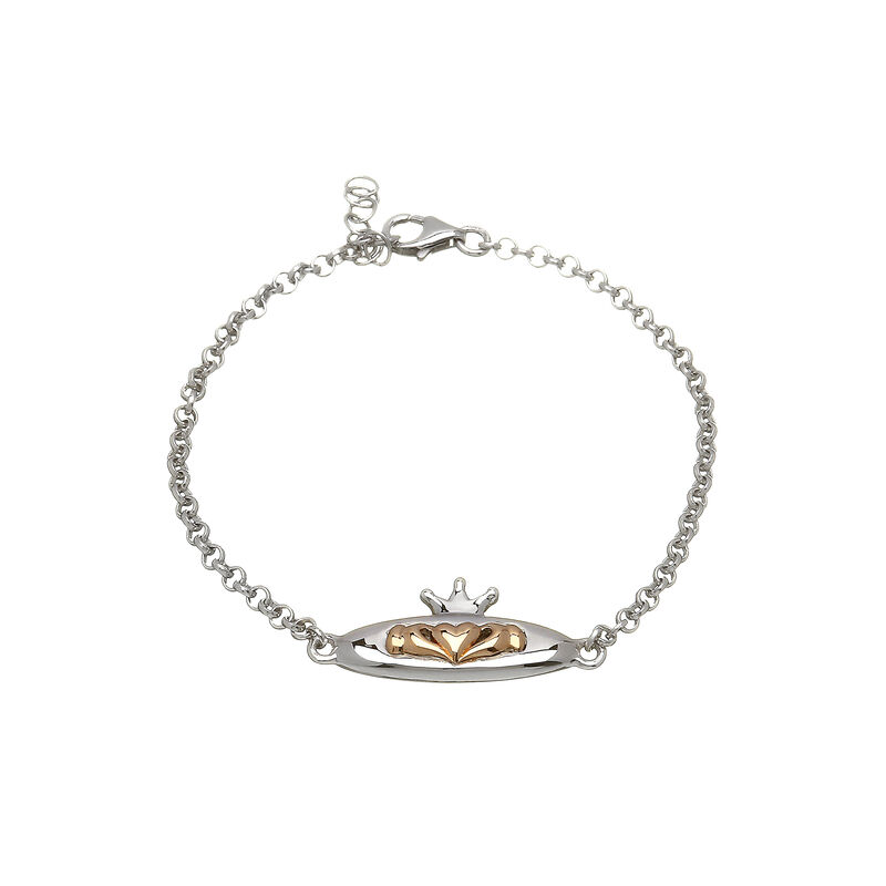 House Of Lor Sterling Silver And Rose Gold Claddagh Design Bracelet