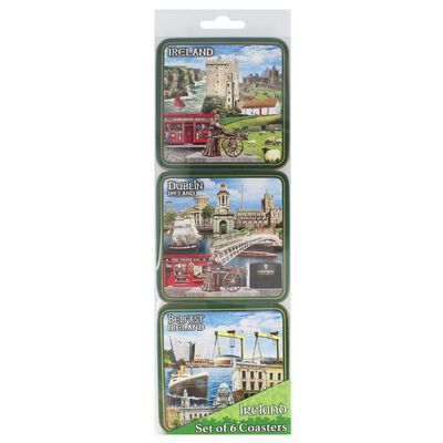 Ireland  Dublin  Belfast Montage Cork-Backed Coasters  6 Per Pack