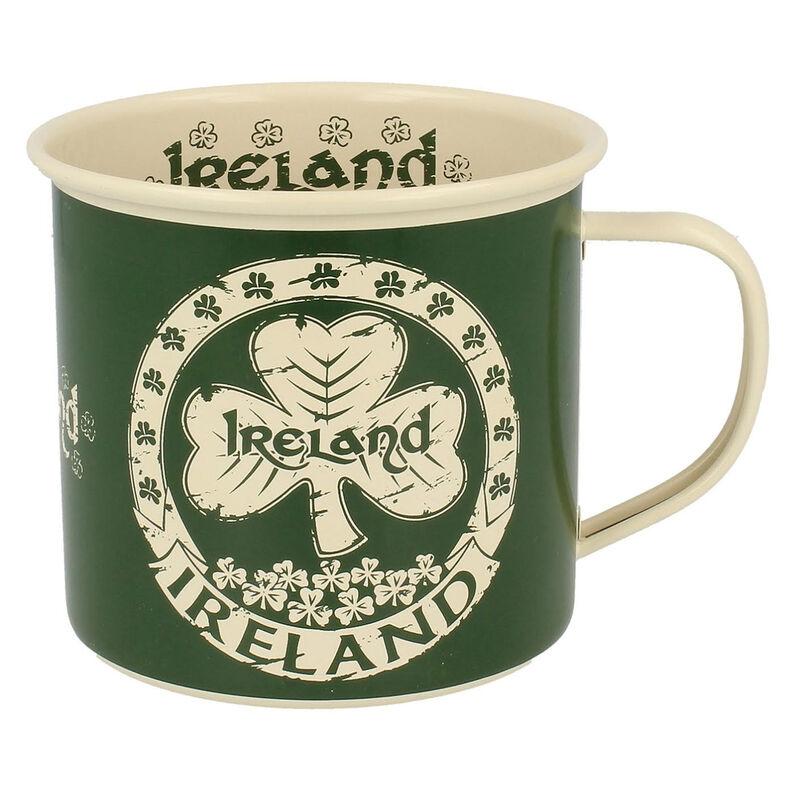 Shamrock Designed Enamel Mug With Ireland Text  Green Colour